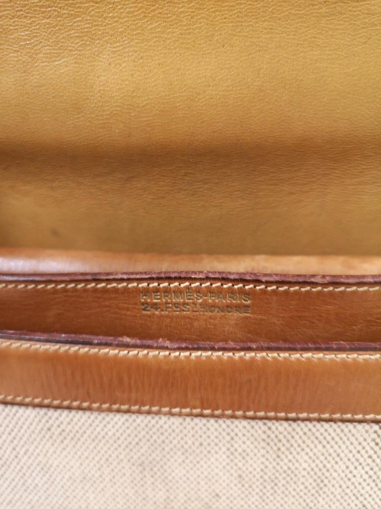 1960 Hermes leather and textile Handle Bag  For Sale 6