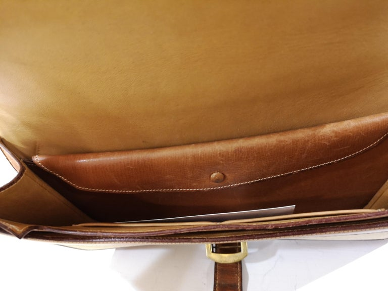 1960 Hermes leather and textile Handle Bag  For Sale 7