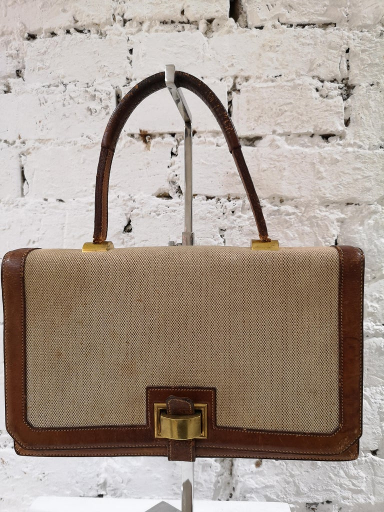 1960 Hermes leather and textile Handle Bag  For Sale 9