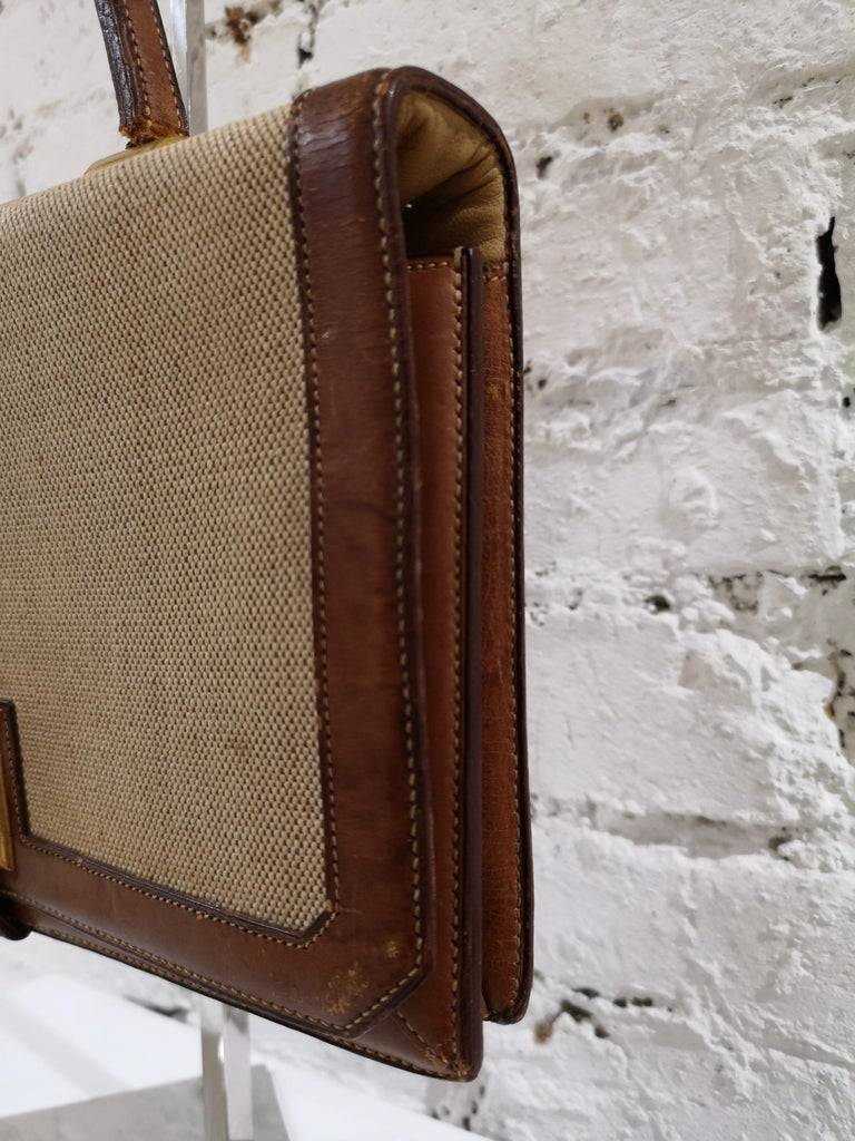 1960 Hermes leather and textile Handle Bag  For Sale 13
