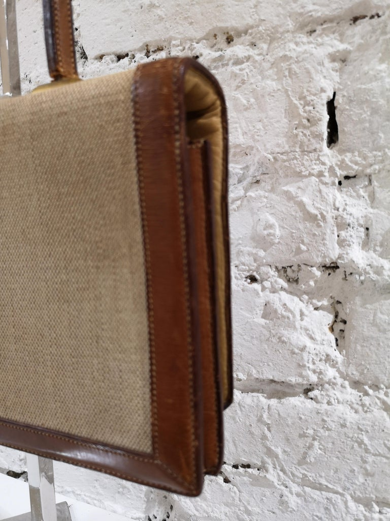 1960 Hermes leather and textile Handle Bag  For Sale 1