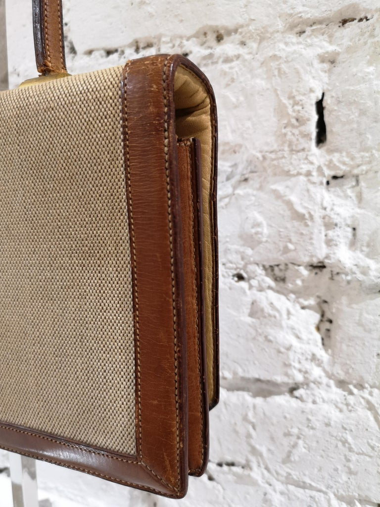 1960 Hermes leather and textile Handle Bag  For Sale 2