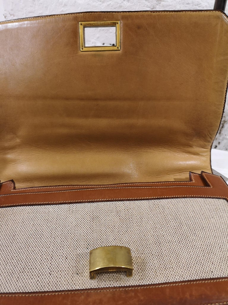 1960 Hermes leather and textile Handle Bag  For Sale 3