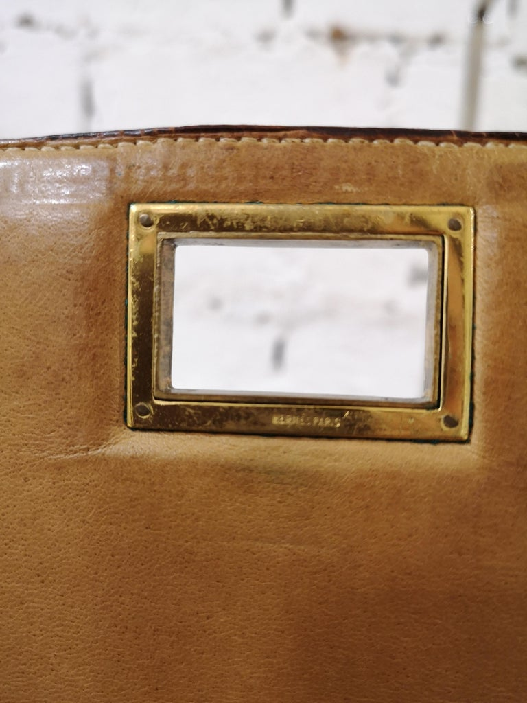 1960 Hermes leather and textile Handle Bag  For Sale 4