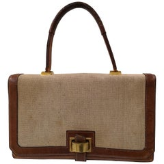 1960 Hermes leather and textile Handle Bag