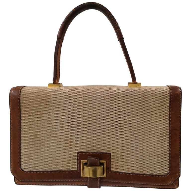 1960 Hermes leather and textile Handle Bag  For Sale