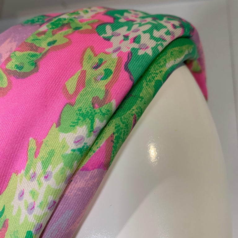 1960 Irene Of New York Fluorescent Floral Print Tufted Turban & Foulard Size M For Sale 6