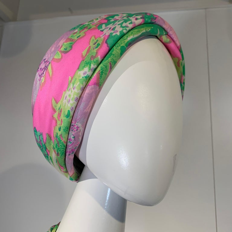 Women's 1960 Irene Of New York Fluorescent Floral Print Tufted Turban & Foulard Size M For Sale