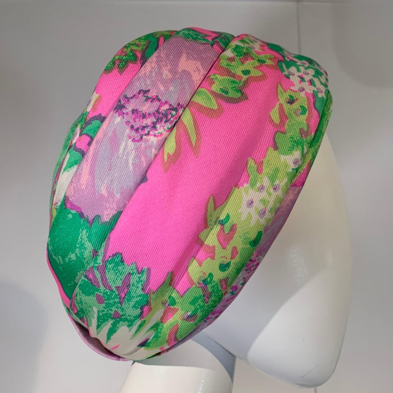 1960 Irene Of New York Fluorescent Floral Print Tufted Turban & Foulard Size M For Sale 4