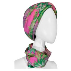 1960 Irene Of New York Fluorescent Floral Print Tufted Turban & Foulard Size M