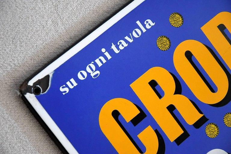 Mid-Century Modern 1960 Italian Enamel Crodo Publicity Sign For Sale