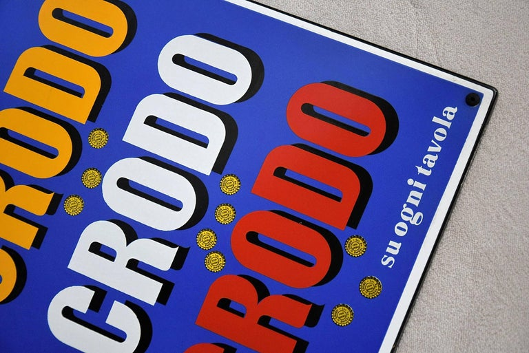 1960 Italian Enamel Crodo Publicity Sign In Good Condition For Sale In Weesp, NL
