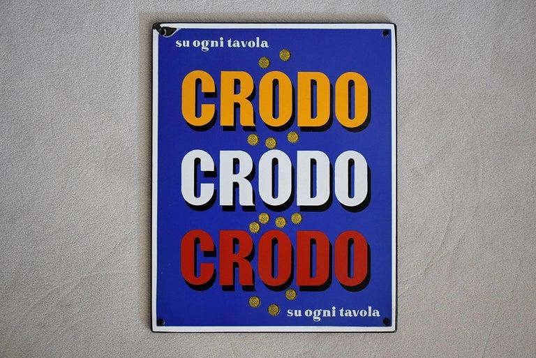 Mid-20th Century 1960 Italian Enamel Crodo Publicity Sign For Sale