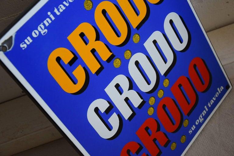 1960 Italian Enamel Crodo Publicity Sign For Sale 3