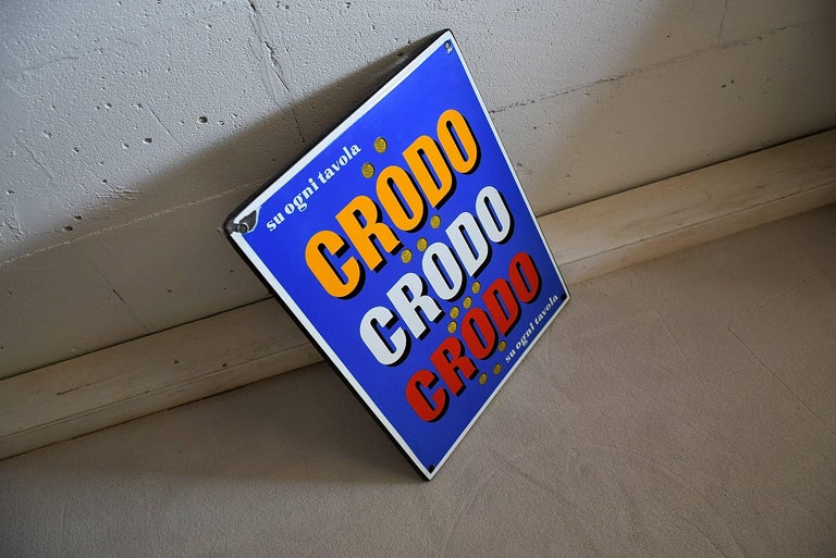 1960 Italian Enamel Crodo Publicity Sign For Sale 4