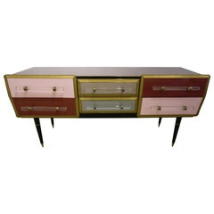1960 Italian Vintage Rose Pink Gray Wine Gold Sideboard / Console with 6 Drawers