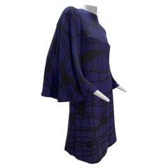 1960 James Galanos Silk Crepe Cobalt & Black Bold Print Side Slit Tunic Dress