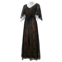 1960 Kiki Hart Black Lace & Sequin Caplet Gown W/ Black Silk Satin Ribbon Belt