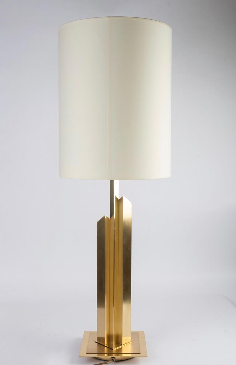 Mid-20th Century 1960 Large Lamp in Gilded and Satin Brass, Maison Honoré For Sale