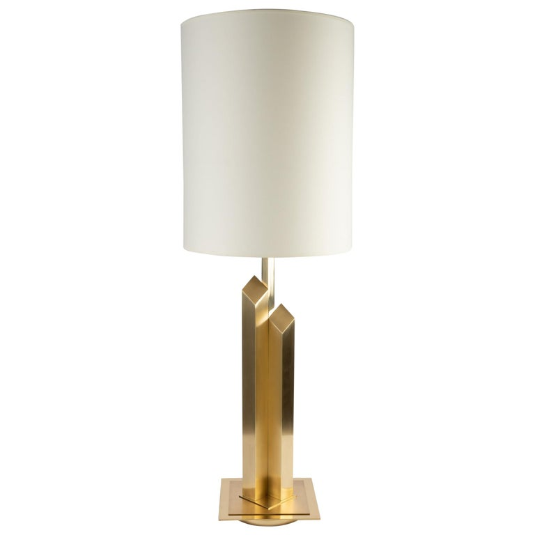 1960 Large Lamp in Gilded and Satin Brass, Maison Honoré For Sale