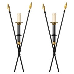 1960 Large Pair of Arrows Wall Lights Maison Honoré