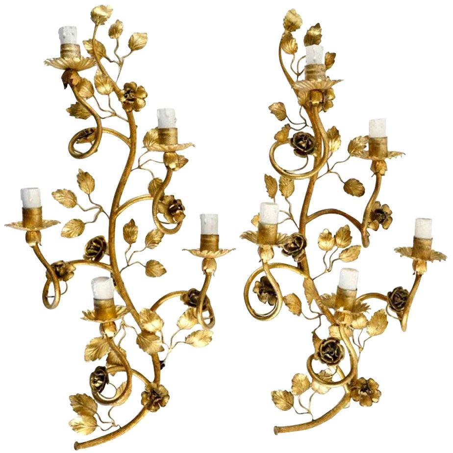 """1960 Large Pair of Golden """"Rosier Sauvage"""" Wall Lights from Maison FlorArt"""
