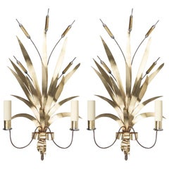 """1960 Large Pair of Wall Lights """"Bouquet of rushes"""" Maison FlorArt"""