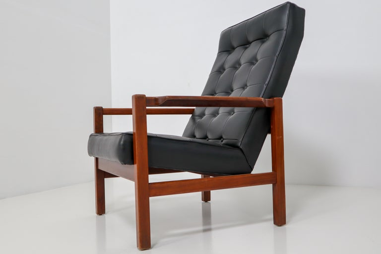 English 1960 Leather Rosewood Armchairs Made in England For Sale