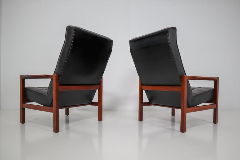 1960 Leather Rosewood Armchairs Made in England In Good Condition For Sale In Almelo, NL