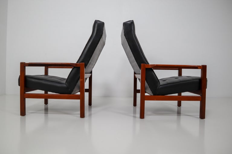 Mid-20th Century 1960 Leather Rosewood Armchairs Made in England For Sale