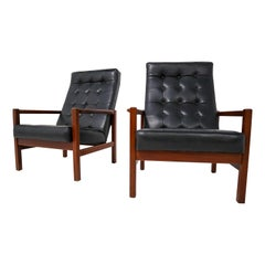 English Leather & Rosewood Lounge Chair, 1960s