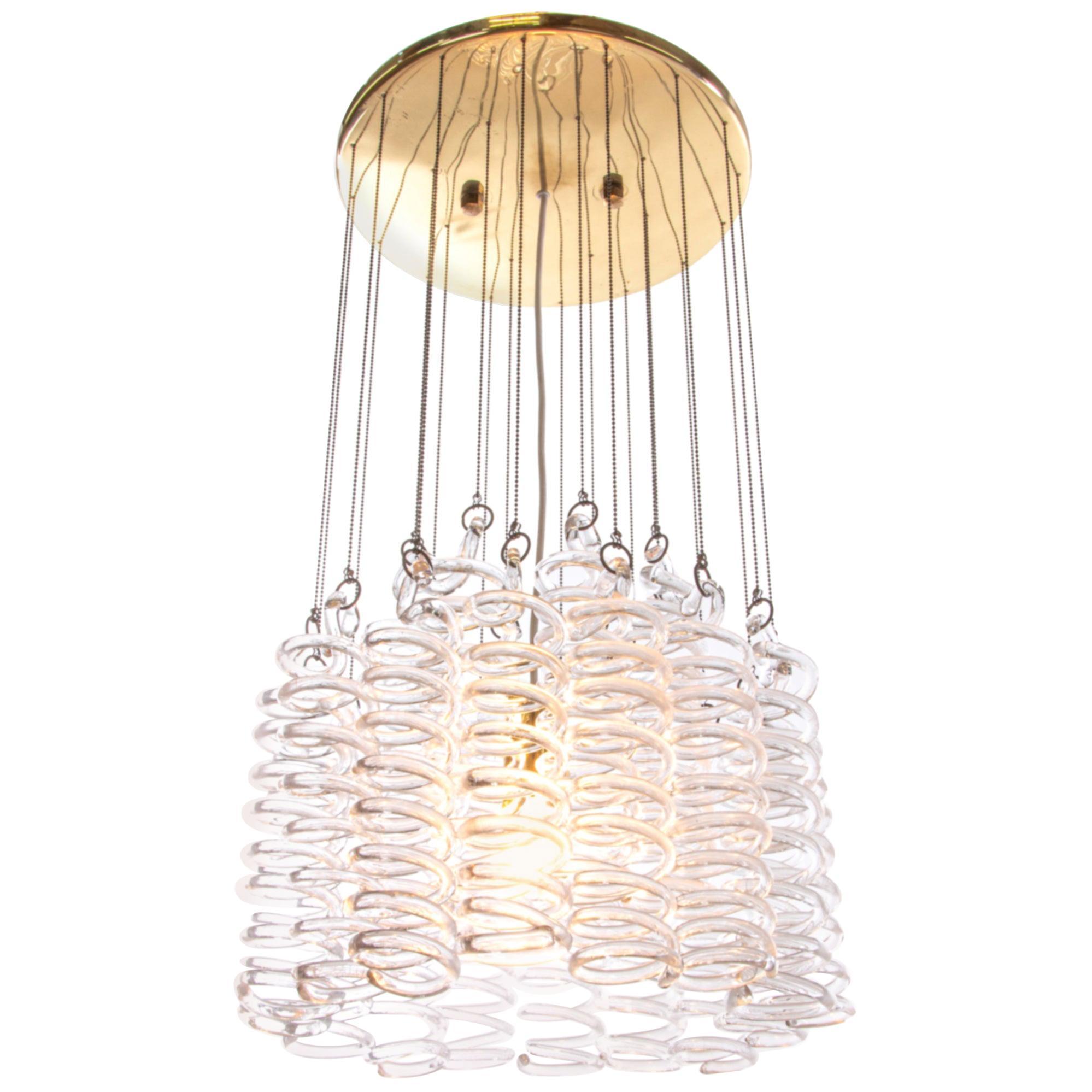 1960 Austria Kalmar Modern Spiral Cascade Chandelier Murano Glass & Brass