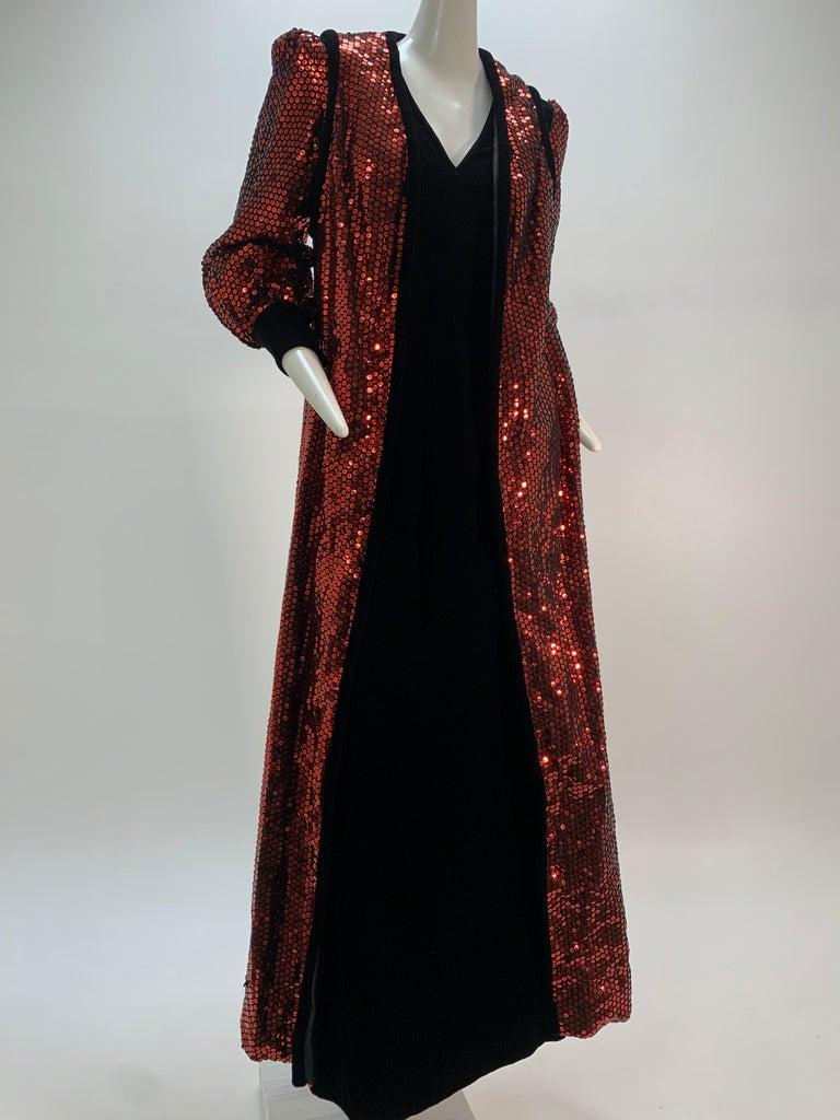 1960 Mr. Blackwell Crimson Red Sequin Black Velvet Gown & Vest Ensemble  For Sale 6