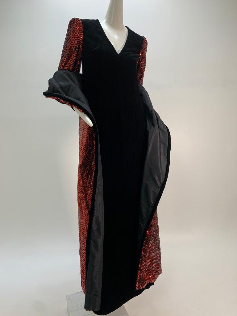 1960 Mr. Blackwell Crimson Red Sequin Black Velvet Gown & Vest Ensemble  For Sale 8