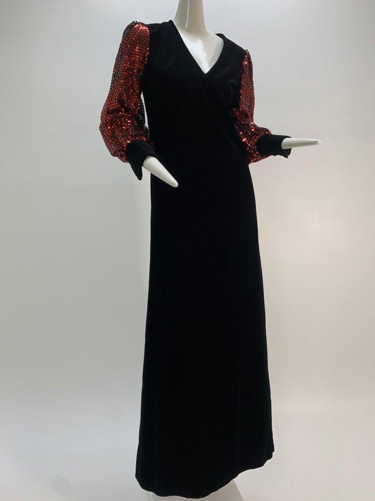 1960 Mr. Blackwell Crimson Red Sequin Black Velvet Gown & Vest Ensemble  For Sale 9