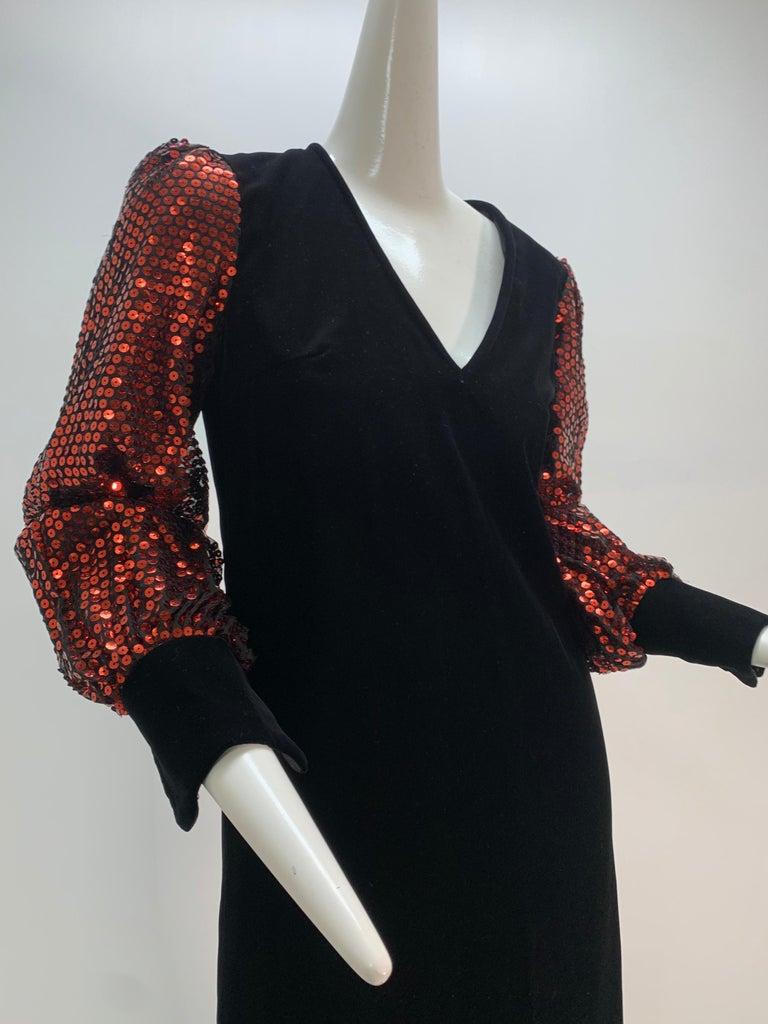 1960 Mr. Blackwell Crimson Red Sequin Black Velvet Gown & Vest Ensemble  For Sale 10