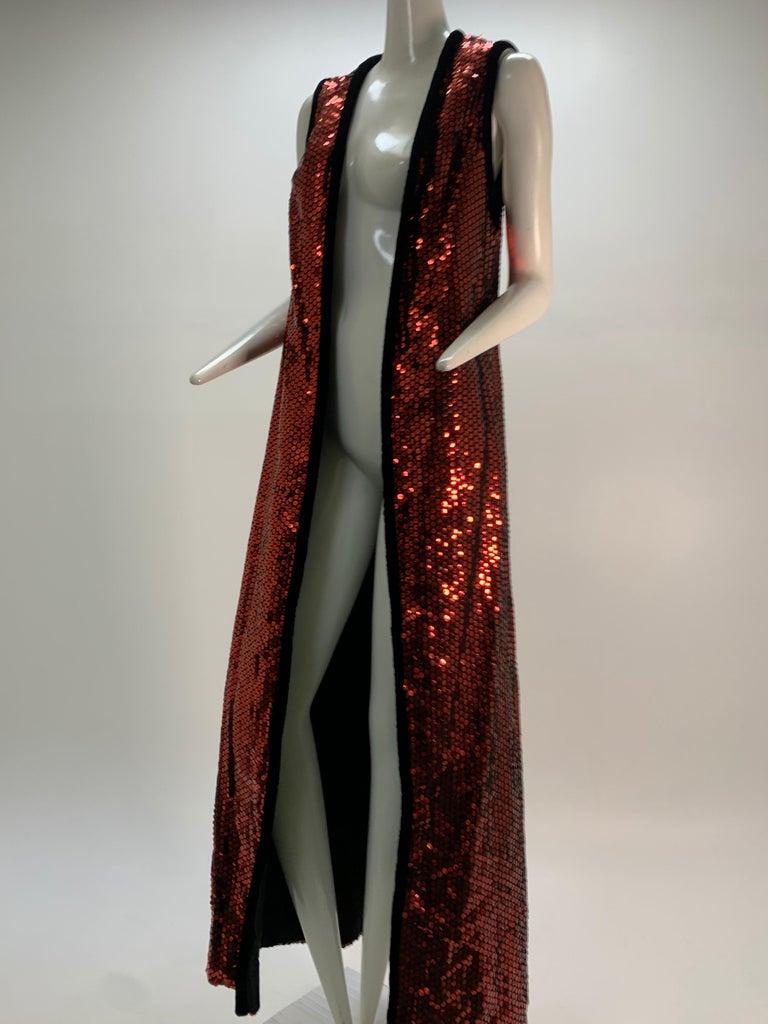 1960 Mr. Blackwell Crimson Red Sequin Black Velvet Gown & Vest Ensemble  For Sale 11