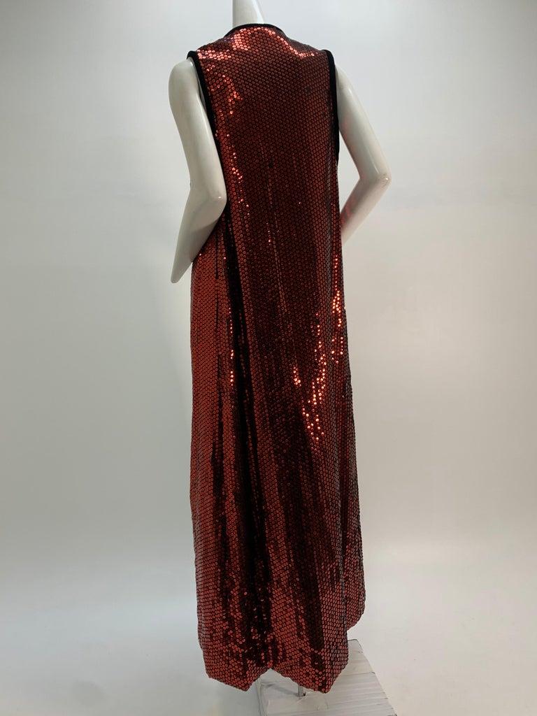 1960 Mr. Blackwell Crimson Red Sequin Black Velvet Gown & Vest Ensemble  For Sale 12