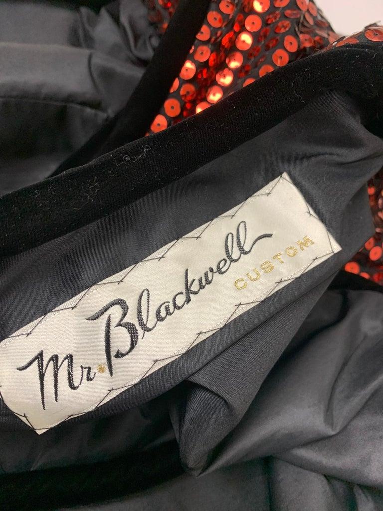 1960 Mr. Blackwell Crimson Red Sequin Black Velvet Gown & Vest Ensemble  For Sale 13
