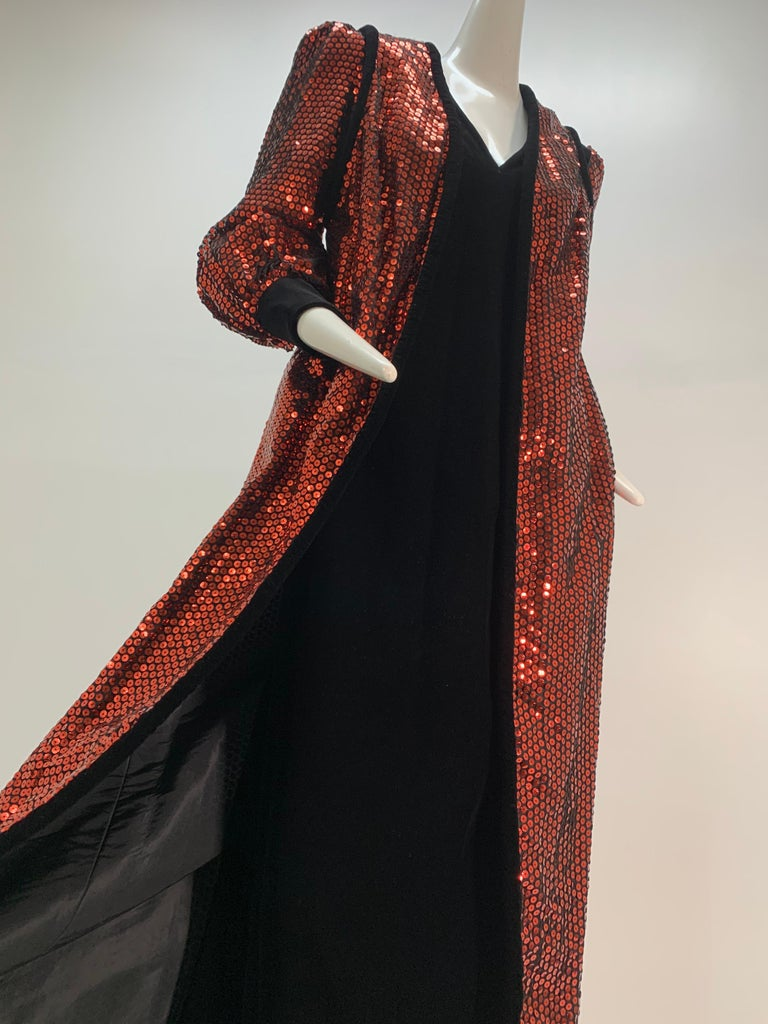 1960 Mr. Blackwell Crimson Red Sequin Black Velvet Gown & Vest Ensemble  In Excellent Condition For Sale In San Francisco, CA