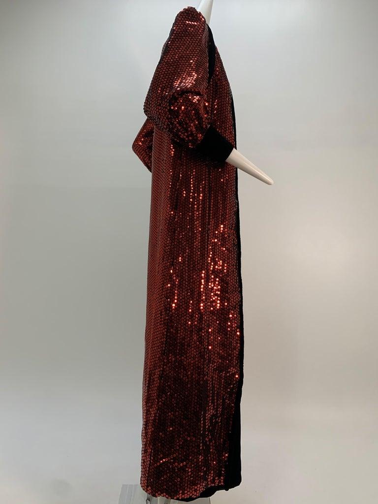 Women's 1960 Mr. Blackwell Crimson Red Sequin Black Velvet Gown & Vest Ensemble  For Sale