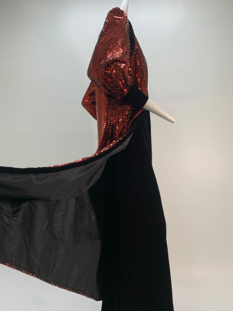 1960 Mr. Blackwell Crimson Red Sequin Black Velvet Gown & Vest Ensemble  For Sale 1