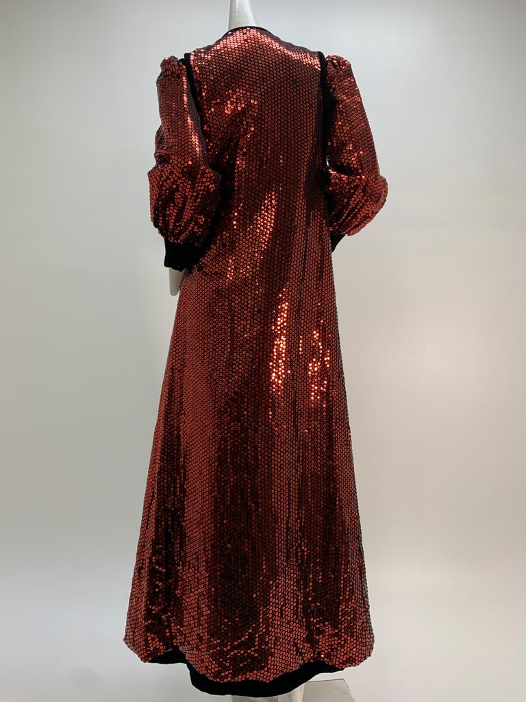 1960 Mr. Blackwell Crimson Red Sequin Black Velvet Gown & Vest Ensemble  For Sale 2