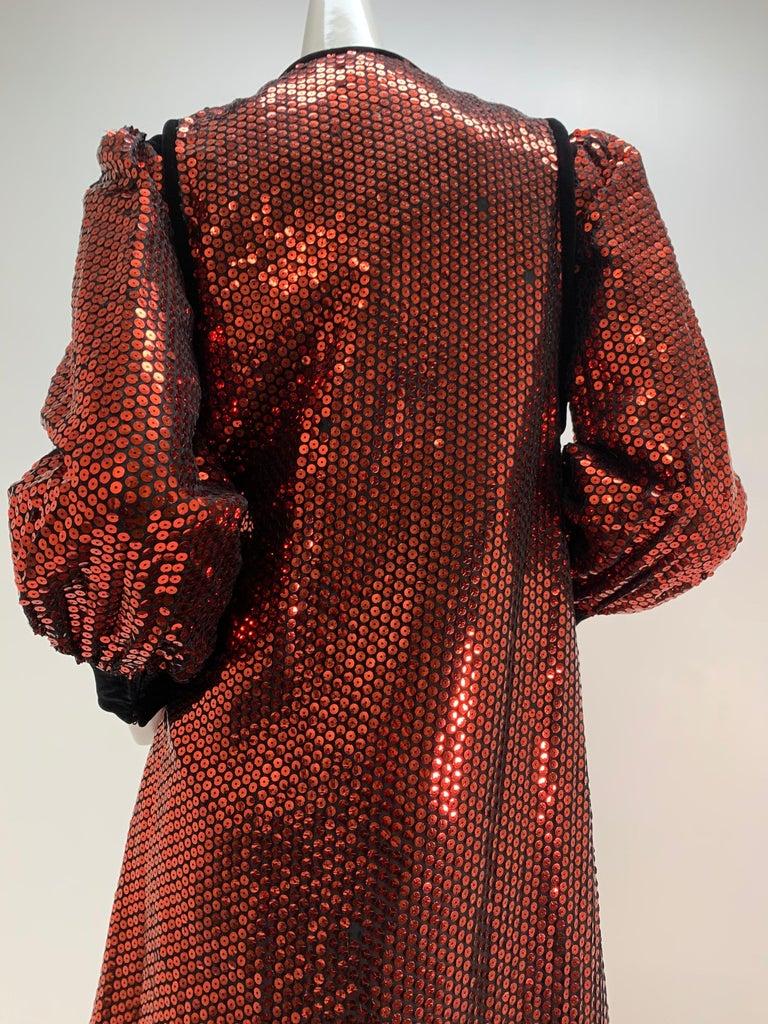 1960 Mr. Blackwell Crimson Red Sequin Black Velvet Gown & Vest Ensemble  For Sale 3