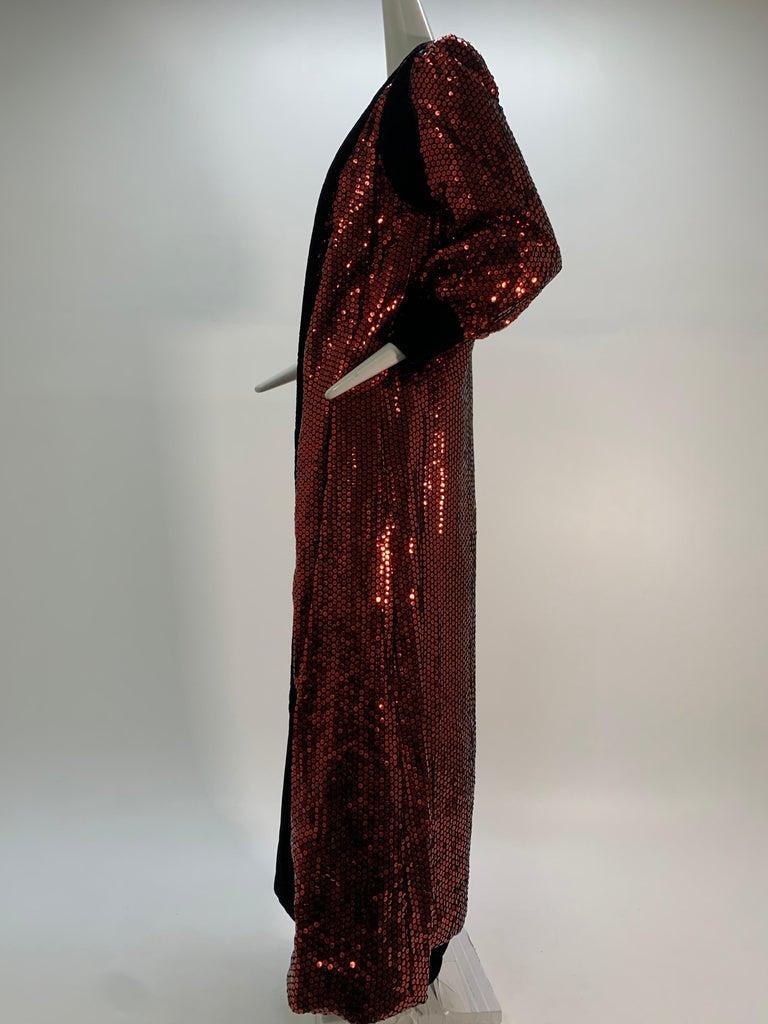 1960 Mr. Blackwell Crimson Red Sequin Black Velvet Gown & Vest Ensemble  For Sale 4