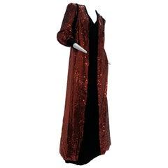 1960 Mr. Blackwell Crimson Red Sequin Black Velvet Gown & Vest Ensemble