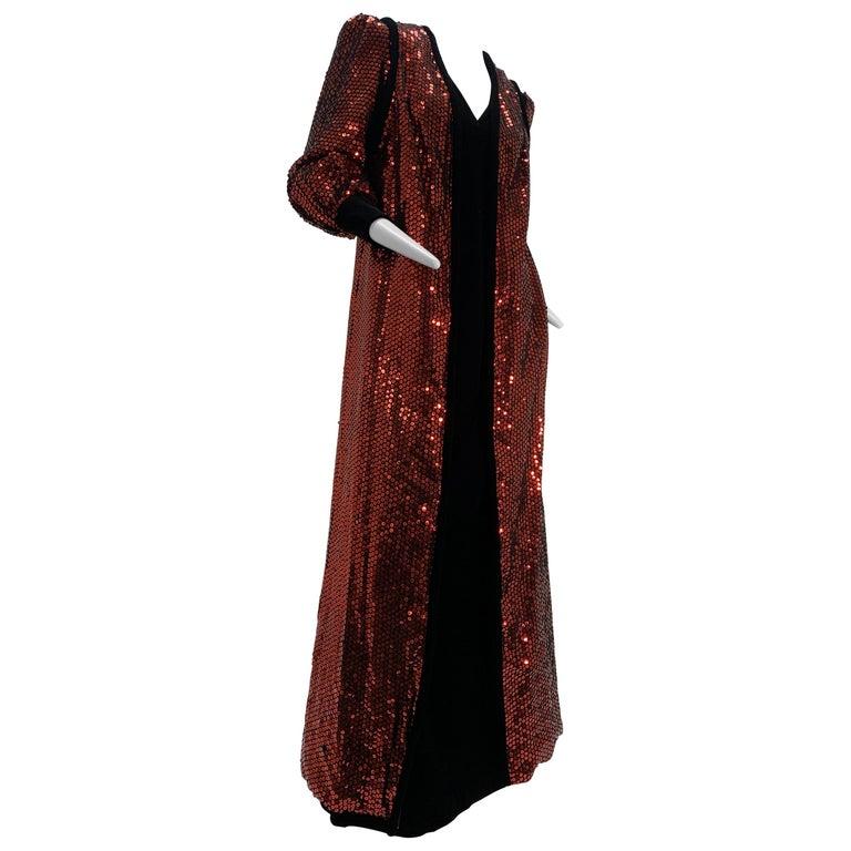 1960 Mr. Blackwell Crimson Red Sequin Black Velvet Gown & Vest Ensemble  For Sale