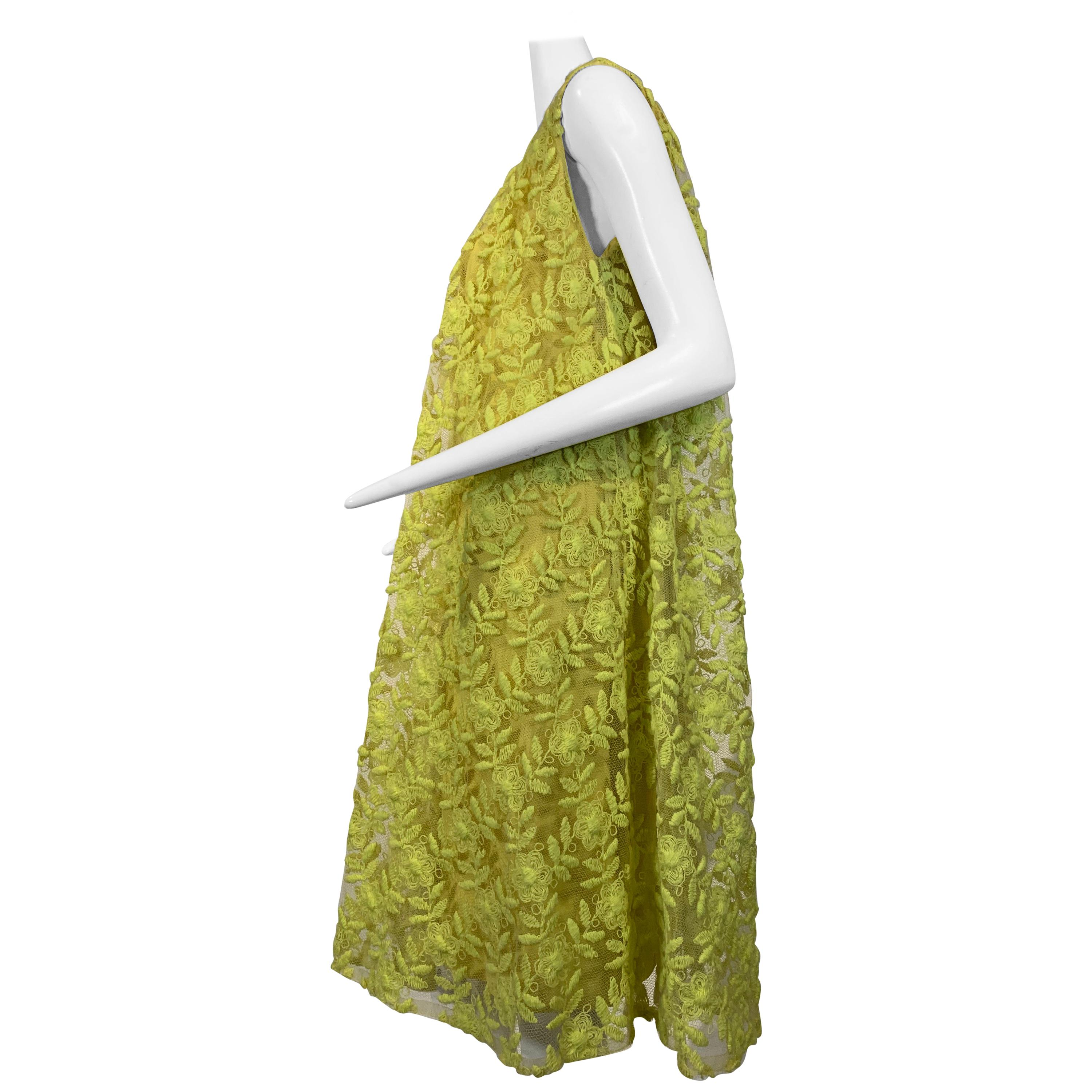 1960 Mr. Blackwell Fluorescent Yellow Embroidered Floral Net Trapeze Dress