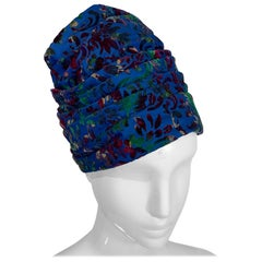 1960 Mr. John Jr. Cobalt Blue Velvet Figural Turban Hat