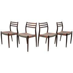 1960 N. O. Møller Palisander Dining Chairs Mod. 78, Denmark